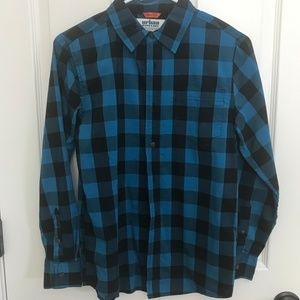 Urban Pipeline Blue/Black Plaid Long Sleeve Shirt